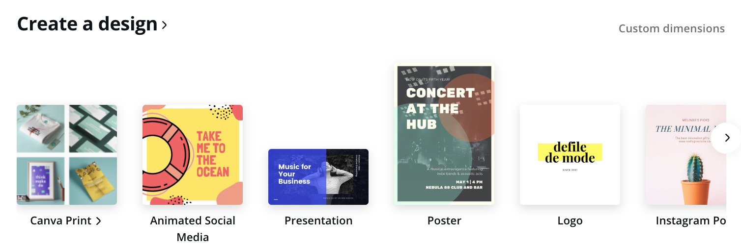 create a design page in Canva showing different template options
