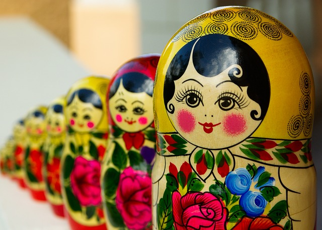 row of Russian nesting dolls