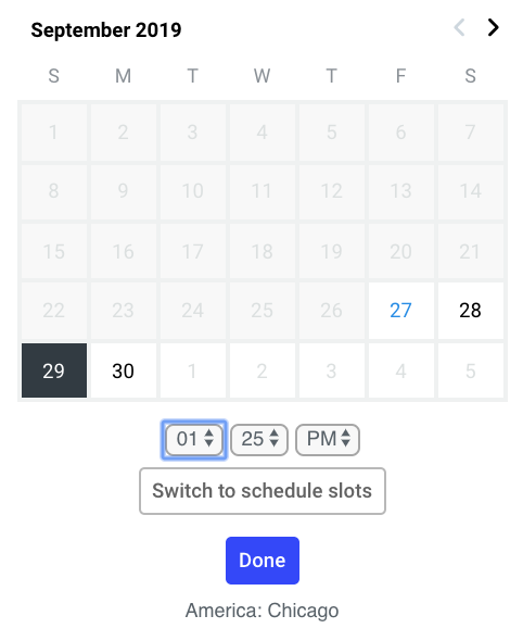 screenshot of Buffer's date and time tool for scheduling social media posts