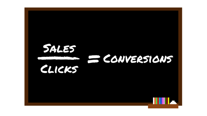 chalkboard showing that sales divided by clicks equals conversions