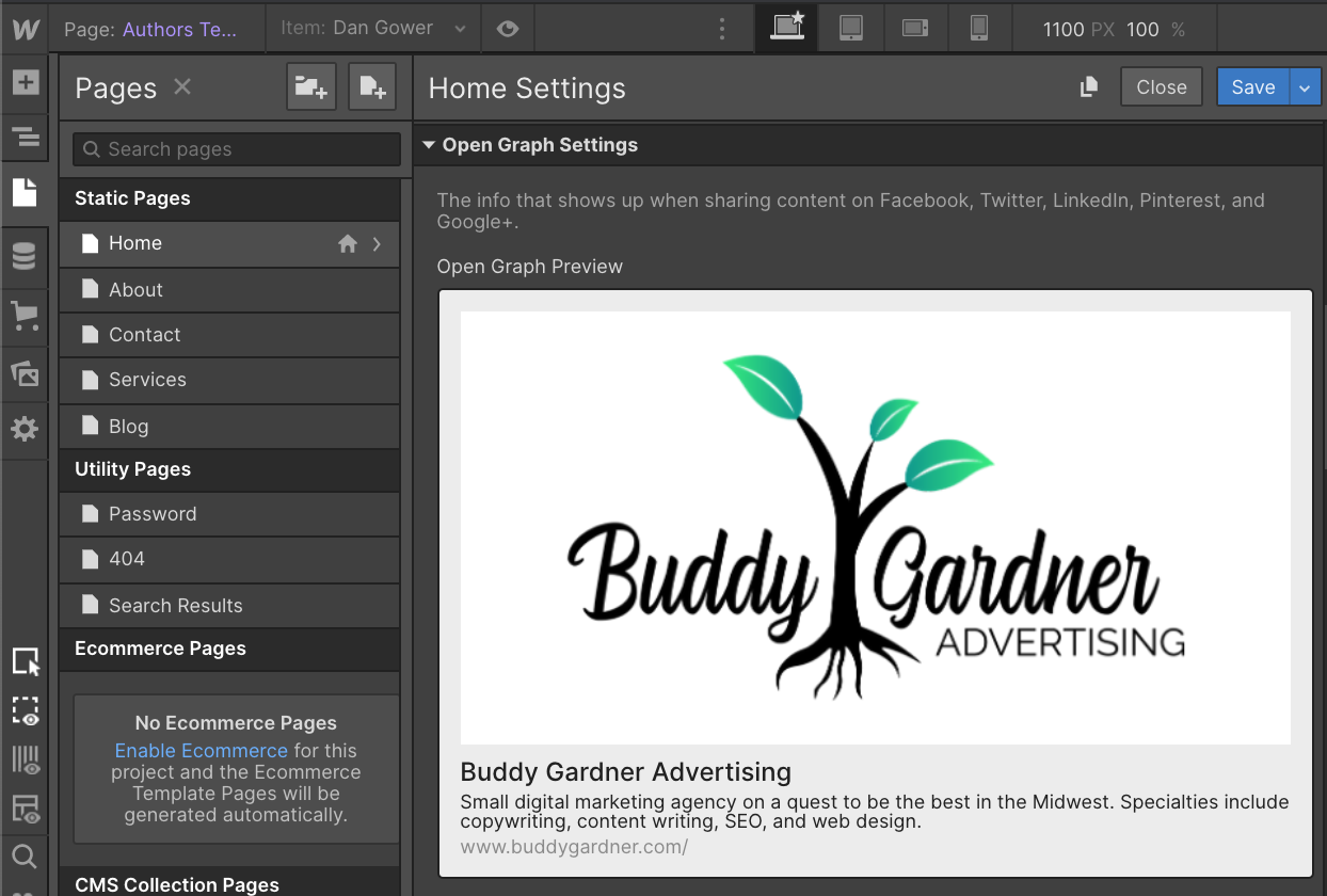 Open Graph Settings for Buddy Gardner in Webflow