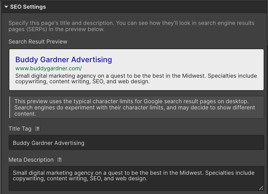 changing SEO settings and meta description for Buddy Gardner in Webflow