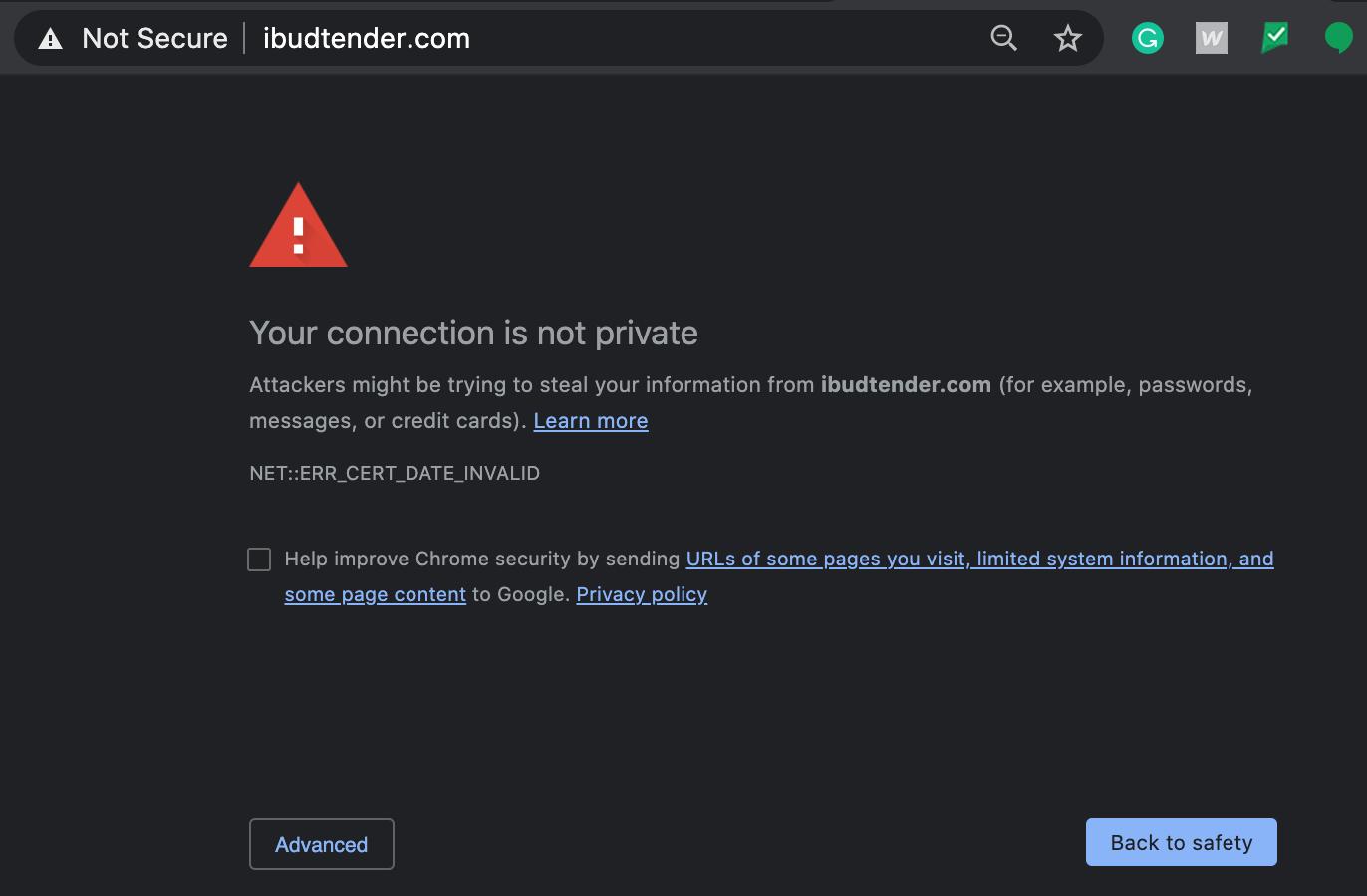 screenshot of ibudtender.com on 6/18/20 showing security warning