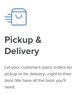 screenshot showing Dutchie's website info about pickup and delivery