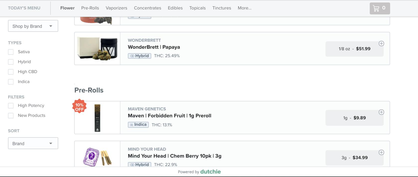 screenshot showing dutchie menu on cannabis dispensary website