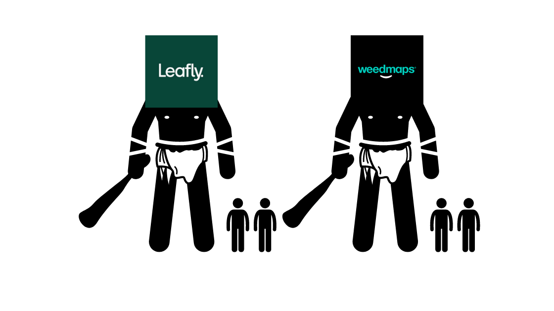 leafly logo and weedmaps logo over pictures of giants