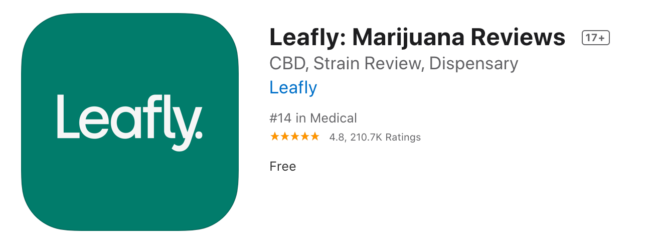 screenshot of leafly in app store