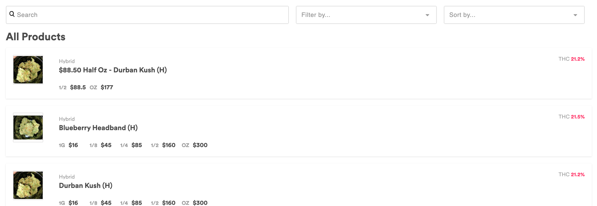 screenshot of weedmaps menu