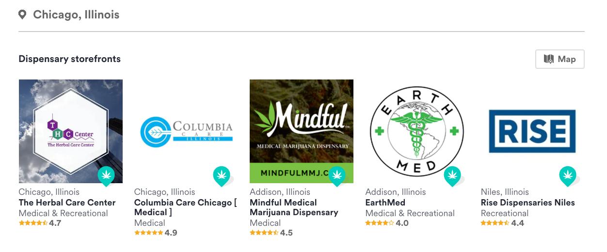 screenshot of sponsored premium listings on weedmaps
