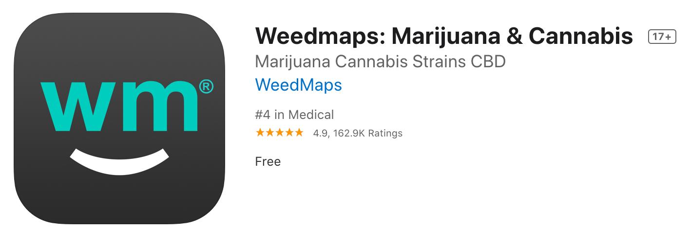 screenshot of weedmaps in app store in July 2020