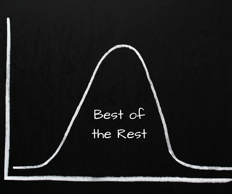 """the best of the rest"" written under the large part of a bell curve"