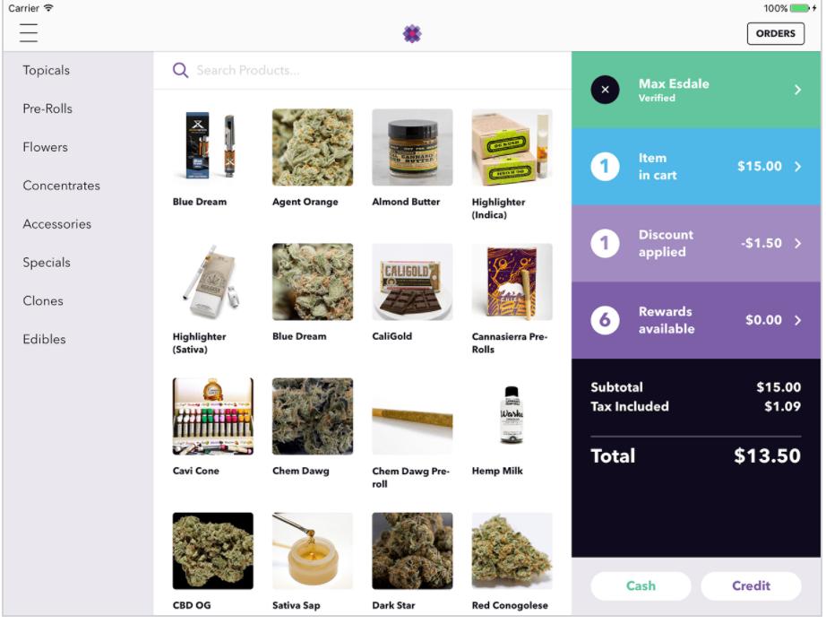 screenshot of cannabis dispensary menu by meadow