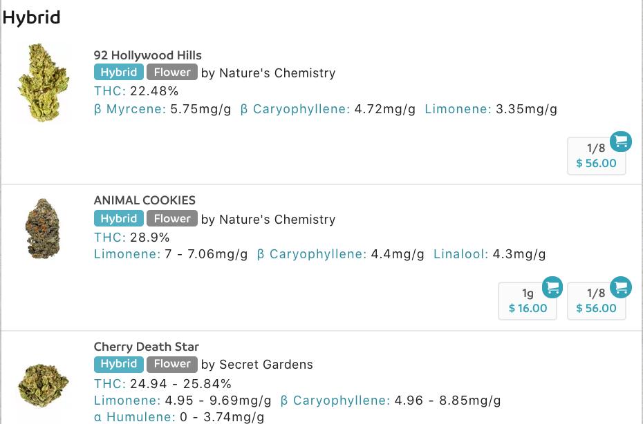 screenshot of menu powered by hytiva
