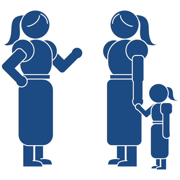 Two mothers talking while holding hand of child