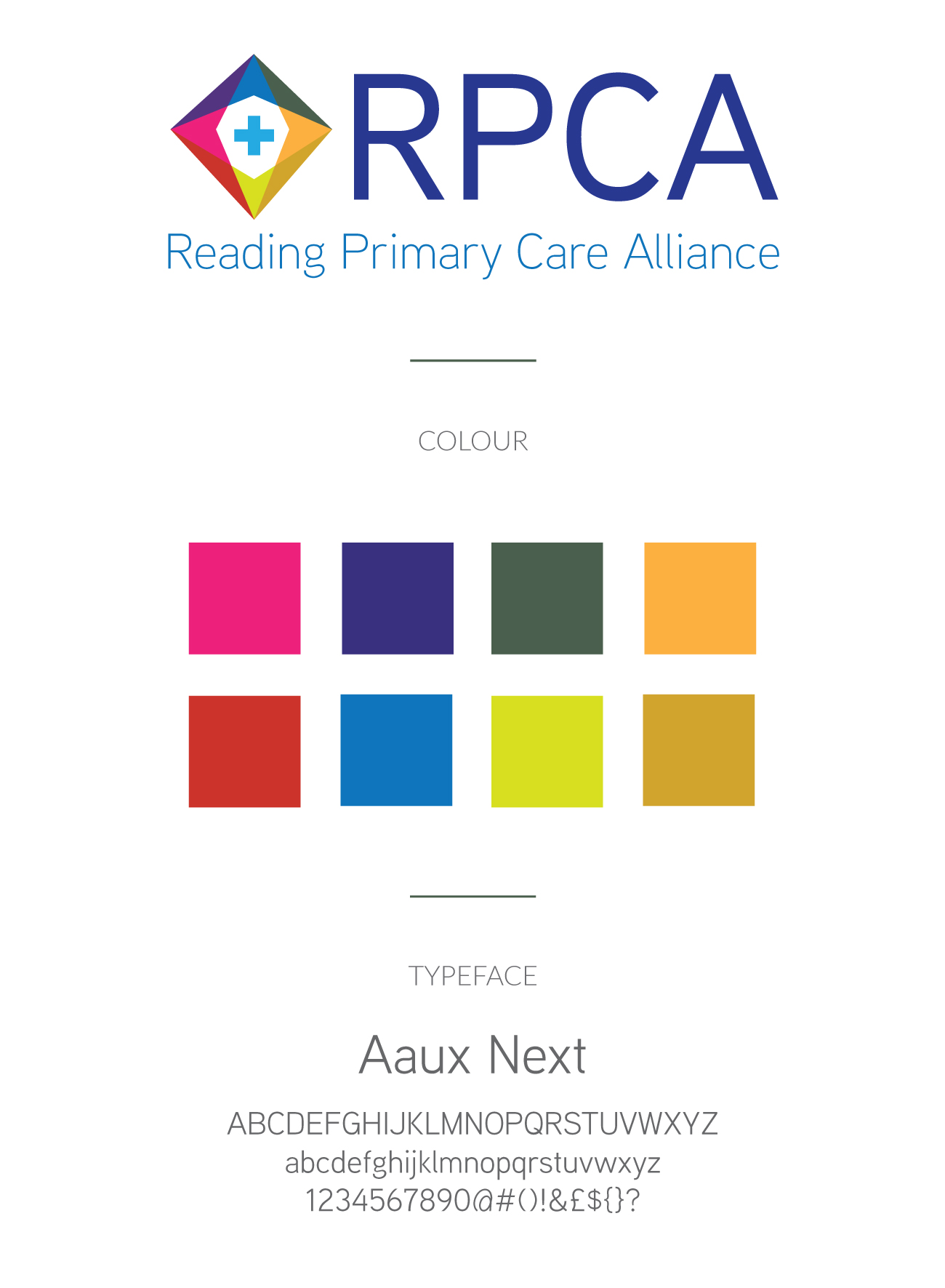 brand identity - style guide for Reading Primary Care Alliance
