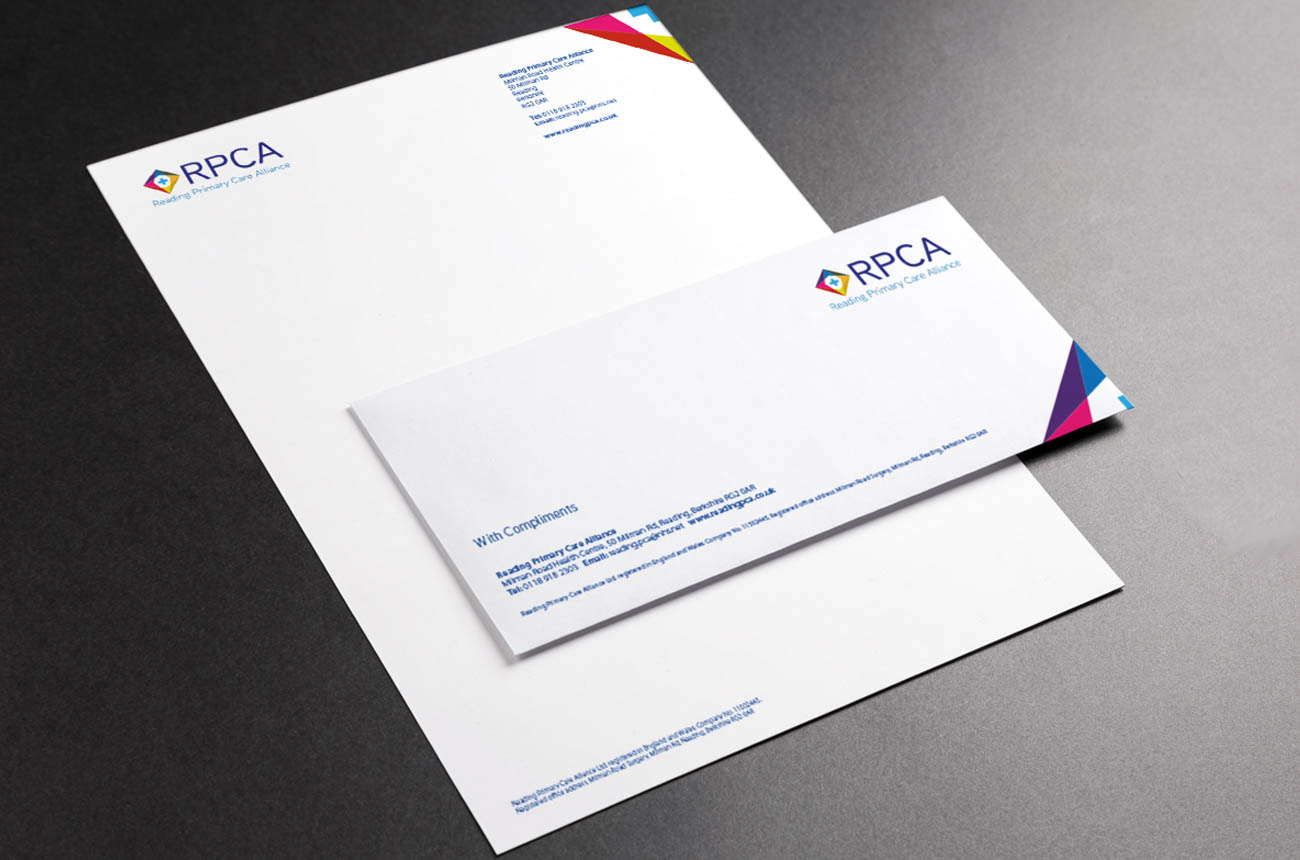 Brand Identity - stationery for Reading Primary Care Alliance
