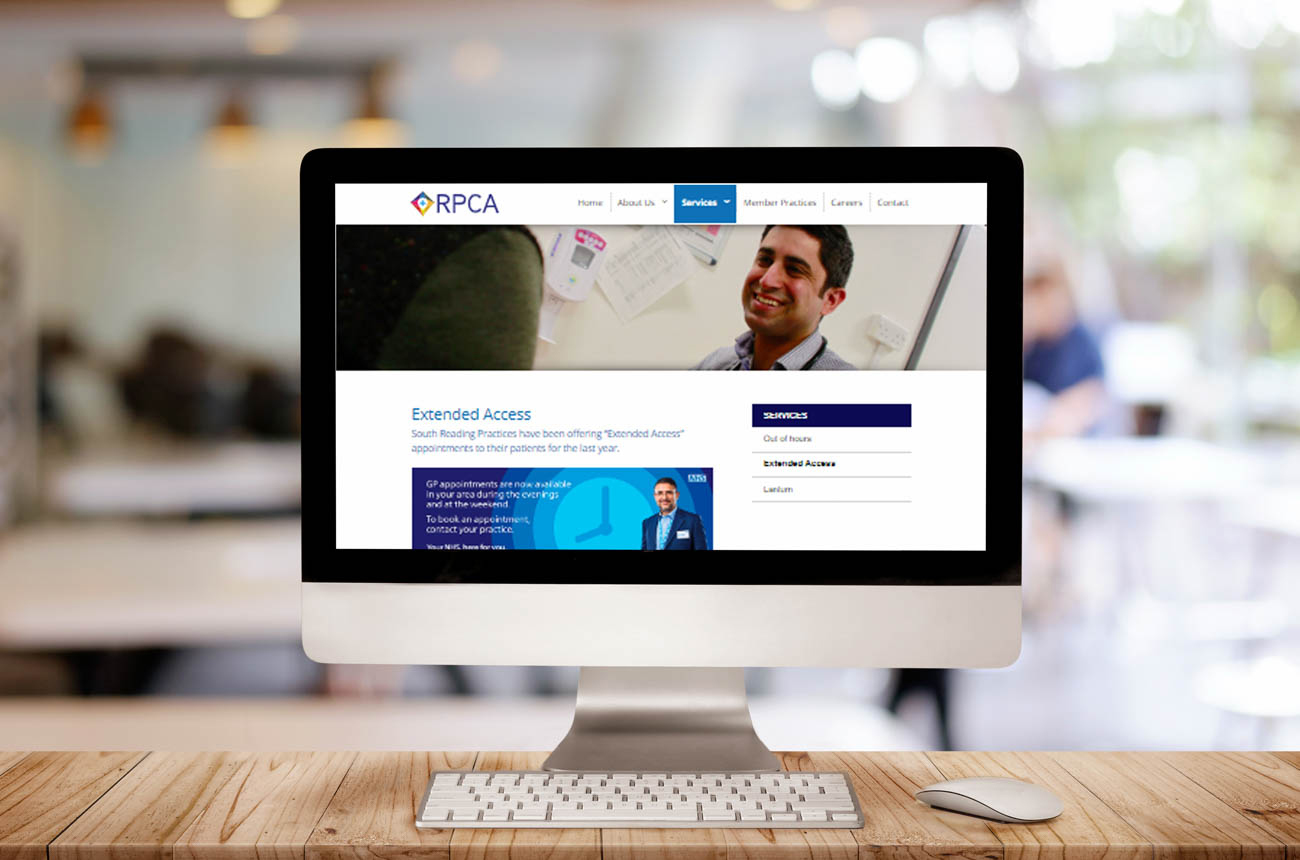 website design for Reading Primary Care Alliance