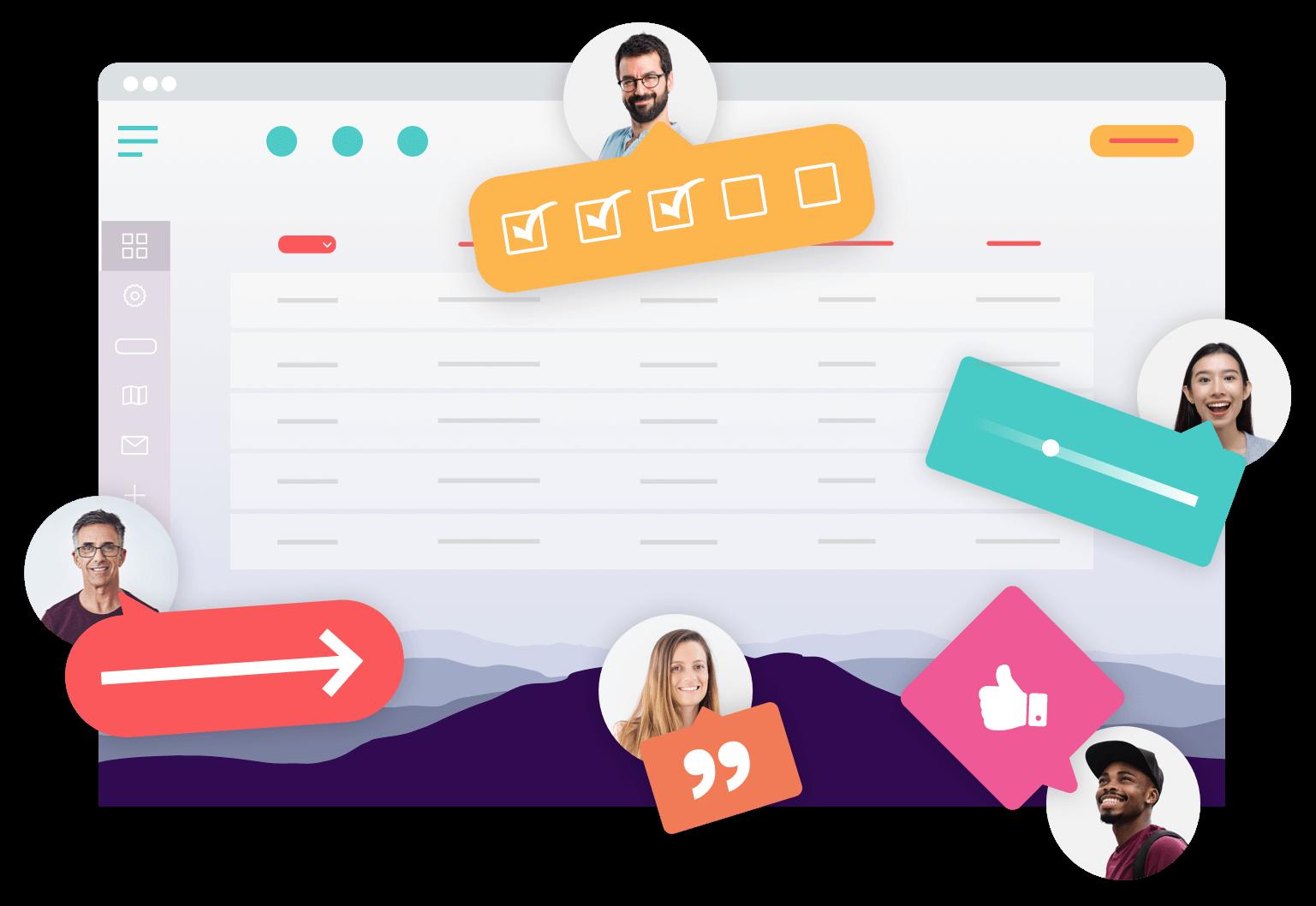 a team contributing to improve a web application through user feedback