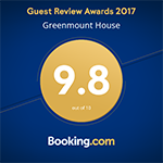 Greenmount House B&B awarded 9.8 of 10 in the Guest Review Awards 2017 from Booking.com