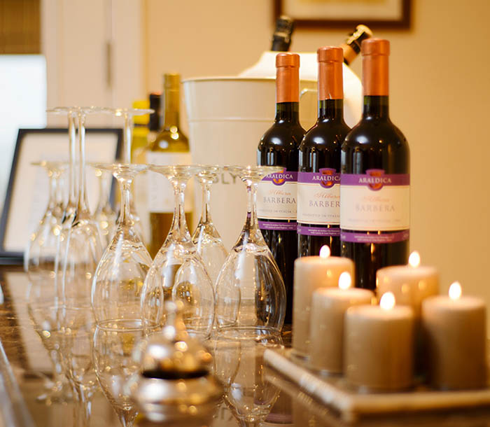 Greenmount House's own wine bar with a choice of beverages