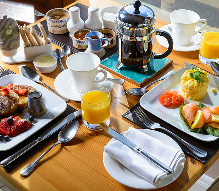 Award winning full traditional Irish breakfast with coffee and orange juice at Greenmount House