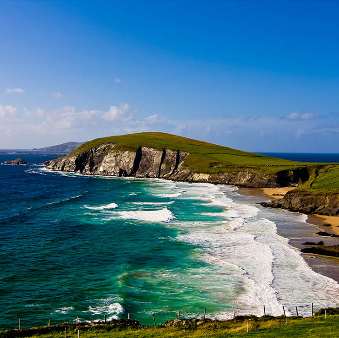 View of Coumeenoole Beach on the Slea Head Drive - one of the spectacular things to do on the Dingle Peninsula on a sunny day
