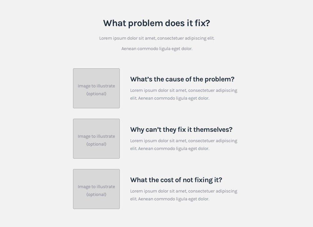 SaaS Landing page formula - Problem intro