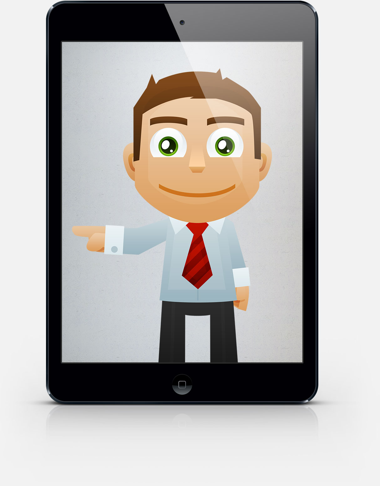 Photo of our smart dental marketing cartoon character in an ipad