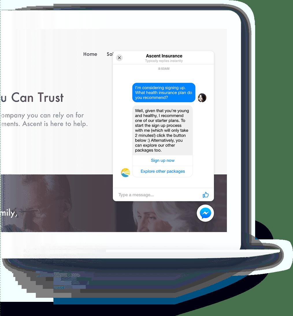 JRNY Chatbot on Desktop Website