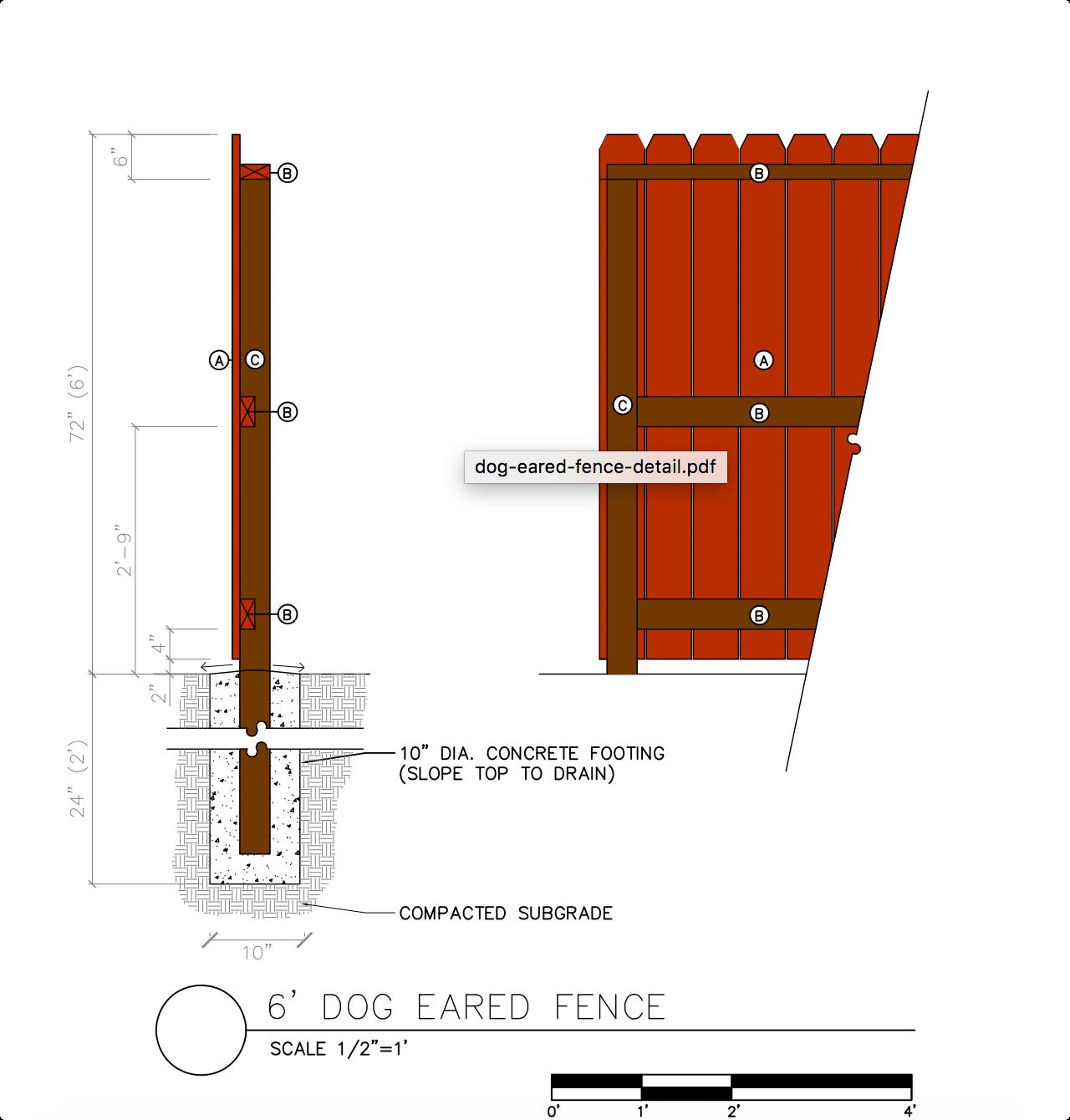 6' Dog Eared Fence