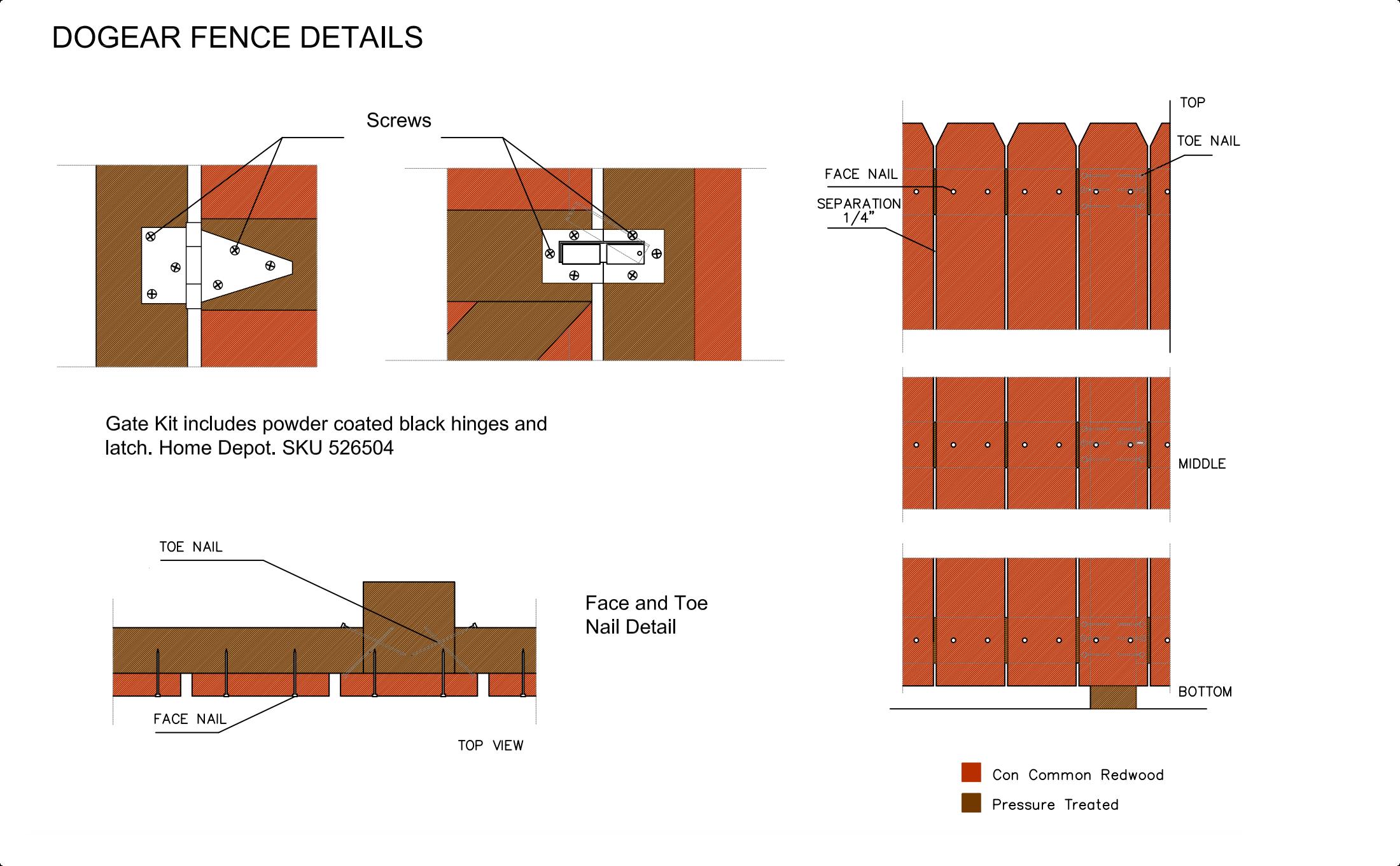 Dogear fence details