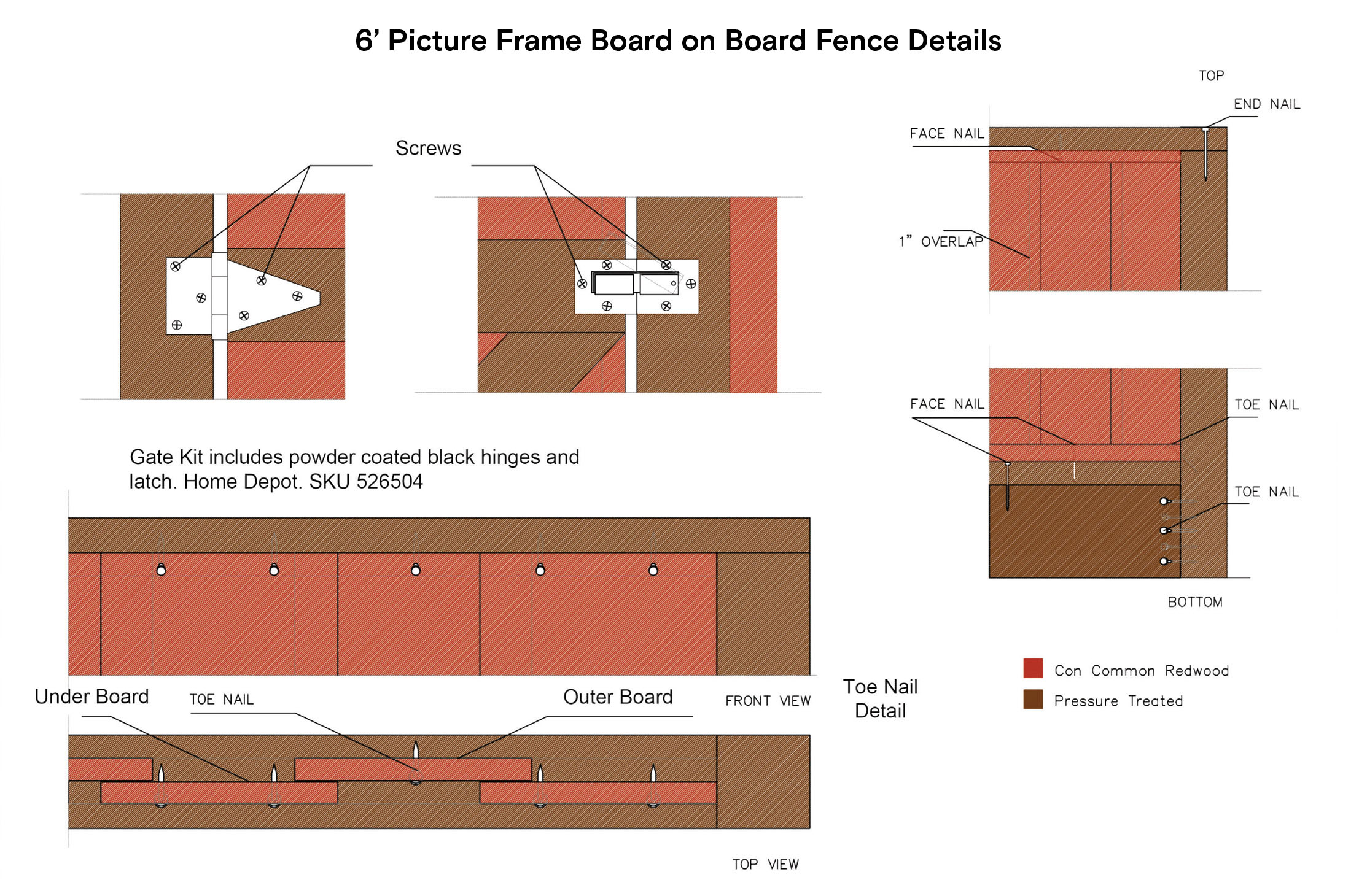 6' Picture Frame Board on Board Fence Details
