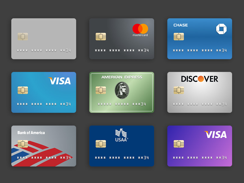 image with 9 credit cards with different designs in a 3 by 3 grid.