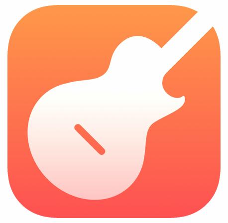 woodshed app icon. a minimal white guitar on an orange background.