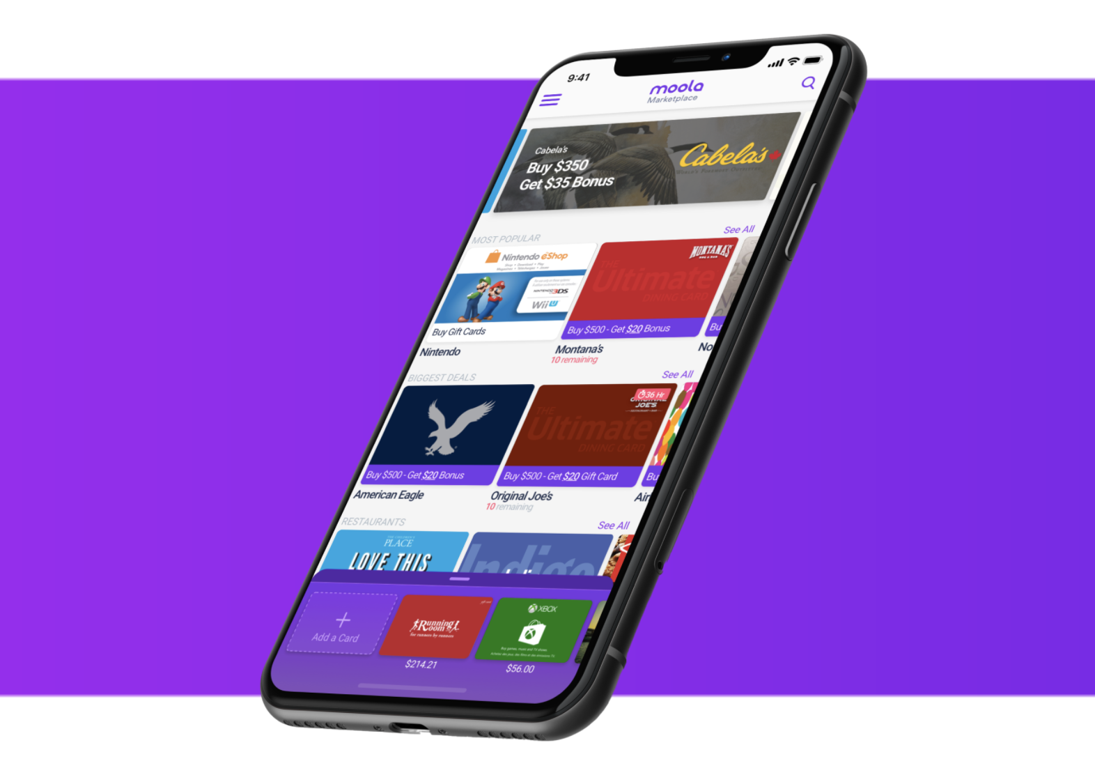 Screenshot of the moola gift card app on an iPhone mockup on a purple background.