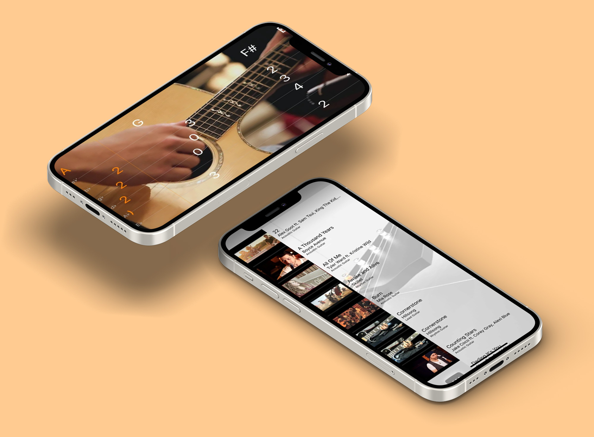 a mockup of 2 iphone 12s. the first iphone is showing the woodshed app while playing a song and showing the chords for it. the second iphone is showing the app in the browse page. users can use the browse page to find a song they would want to learn.