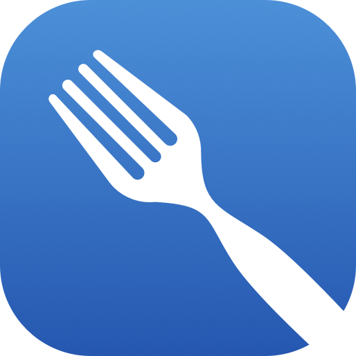 logo of the cookout app. a simple white fork on a blue background.