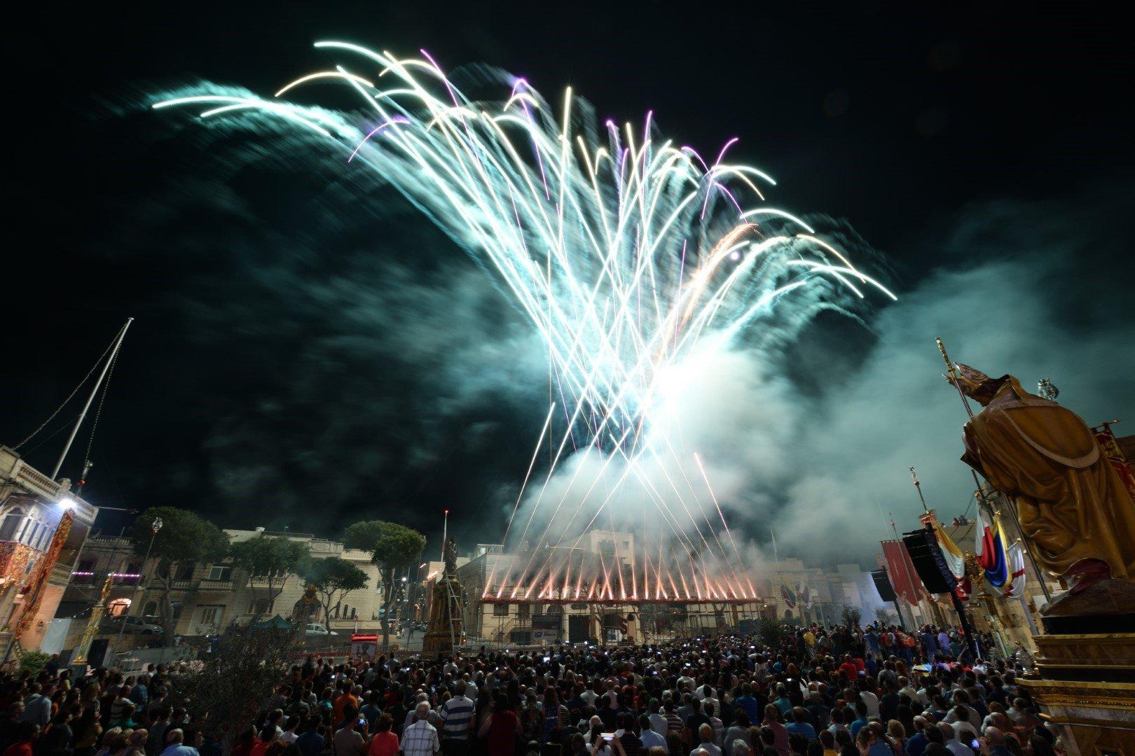 A fireworks display in Munxar, Gozo