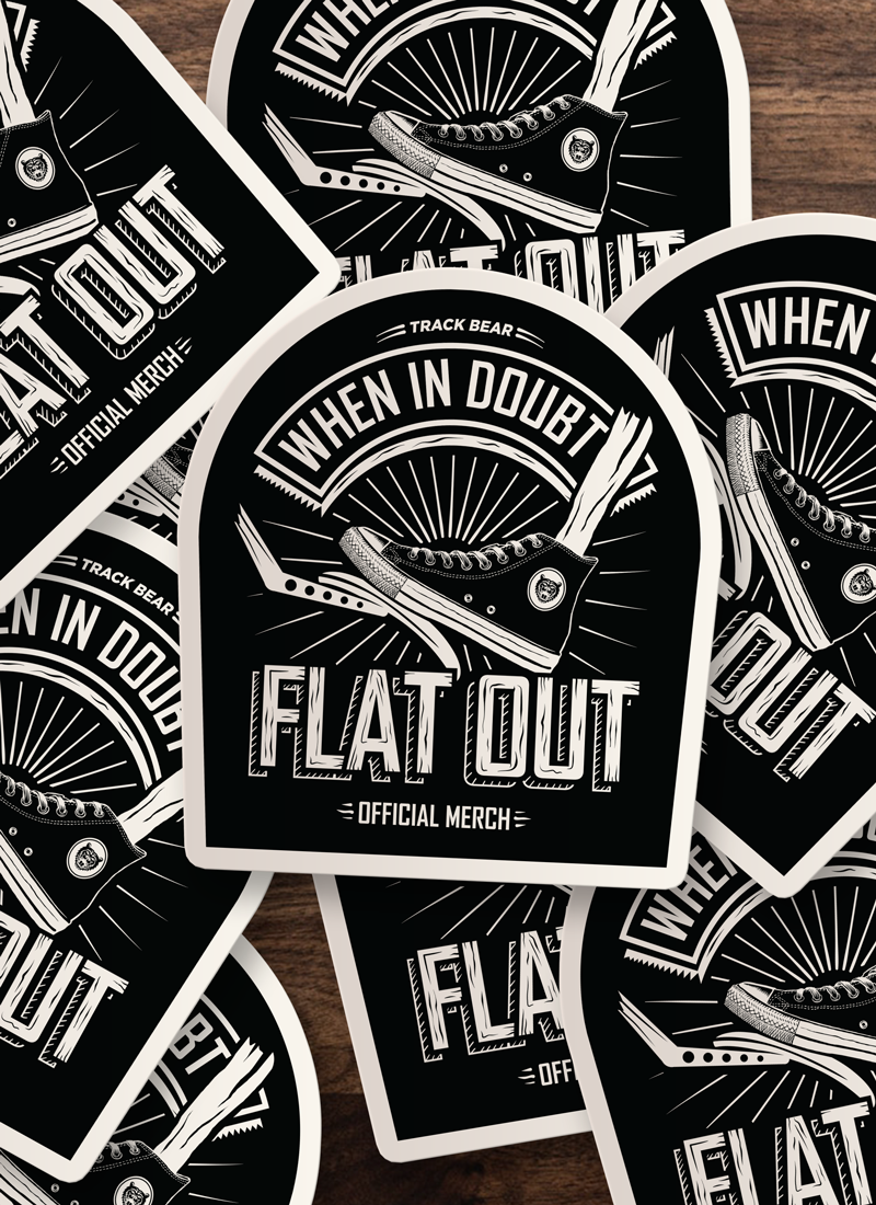 Flat Out stickers now available