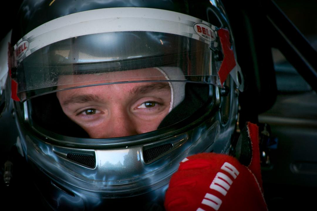 Ken close up race helmet