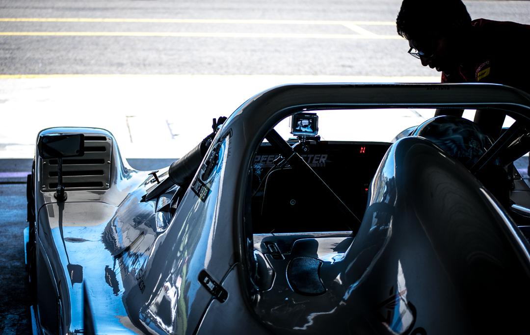 Over the shoulder radical race car