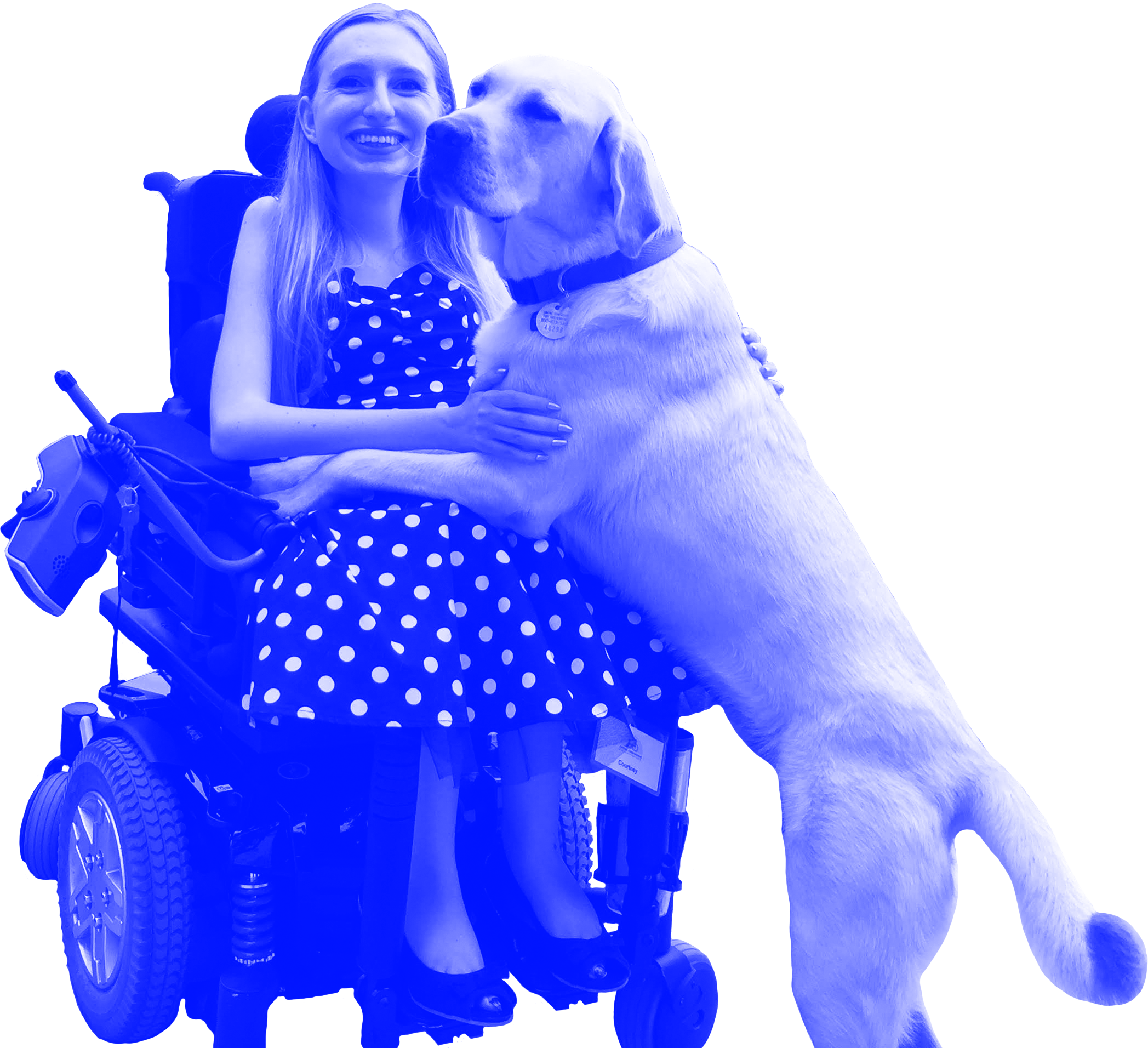 Image of Courtney smiling at the camera with her service dog, Cajun. Courtney has long, straight, blonde hair and is sitting in a wheelchair. She is wearing a polka-dotted dress and peep-toe heels. Her service dog is a yellow Labrador Retriever.