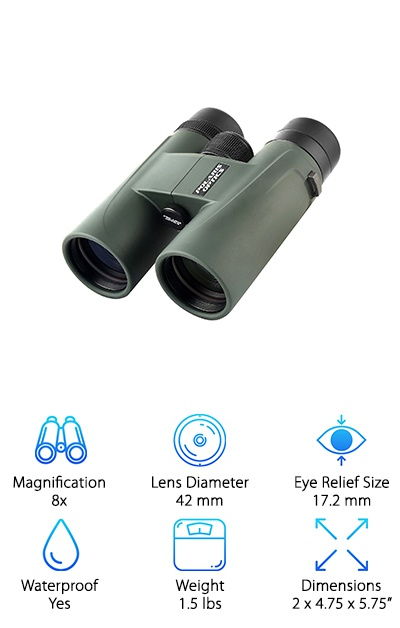 The Polaris Optics NaturePro binoculars are a great set to conclude our reviews. With these binoculars, you will get more than just a magnified image. While these binoculars are popular among bird watchers, they work well for hunters, too. The lenses in this set provide enhanced colors with P{olaris' Phase Correction technology so you will be able to spot animals and birds that would normally blend in with their surroundings. Like most of the great hunting binoculars, this pair comes with fully multi-coated lenses, so you get a clear and bright image in even dimly lit situations. When you purchase this pair of outdoor binoculars, you will be able to use the eyepiece and lens covers to prevent scratching. The carrying case will keep your binoculars safe while you are traveling or loading up your other hunting gear. Lastly, the included neck strap lets you carry them around in the woods and climb tree stands without worry.