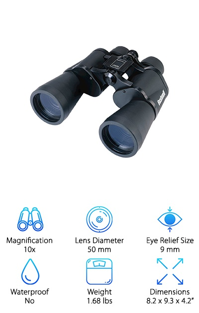 """If you are looking for more affordable binoculars with the popular Bushnell quality, you will want to look into the Bushnell Falcon Binoculars. They are very affordable, but they still get the job done. The Falcon has a limited eye relief size, but you can roll the eyecups down for a more comfortable fit with glasses. These binoculars also have the """"Insta-Focus"""" focus system, so you can quickly focus on any object whether it is near or far by simply pressing a lever. Hunters will love this feature because it can save you the hassle of making the adjustments on your own. You will be able to focus on any animal quickly, so you won't have to worry about missing a shot. With the Porro prism and coated lenses in these binoculars, you will get a clear image in a variety of settings. You will also get a case, strap, lens cap, and lens cleaning cloth, so you can care for and store the binoculars."""