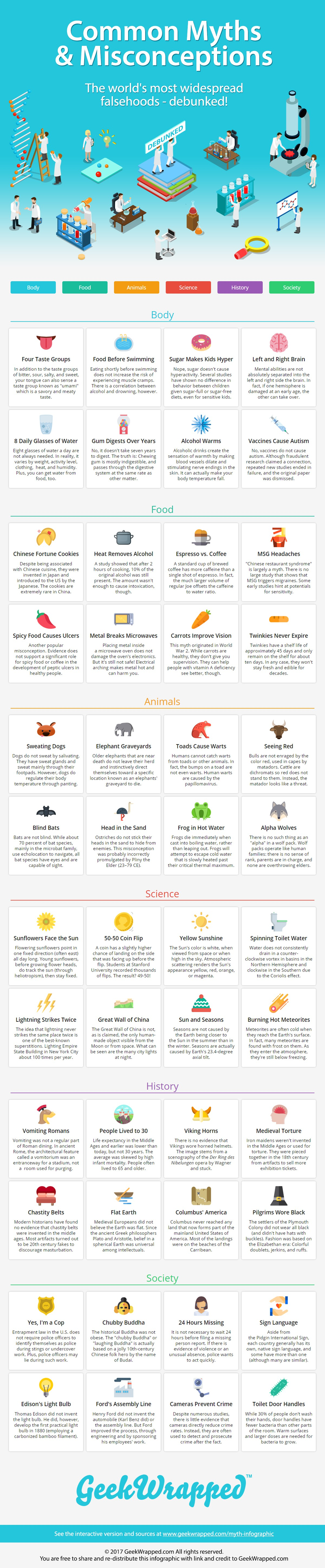 100 Common Myths Amp Misconceptions Infographic