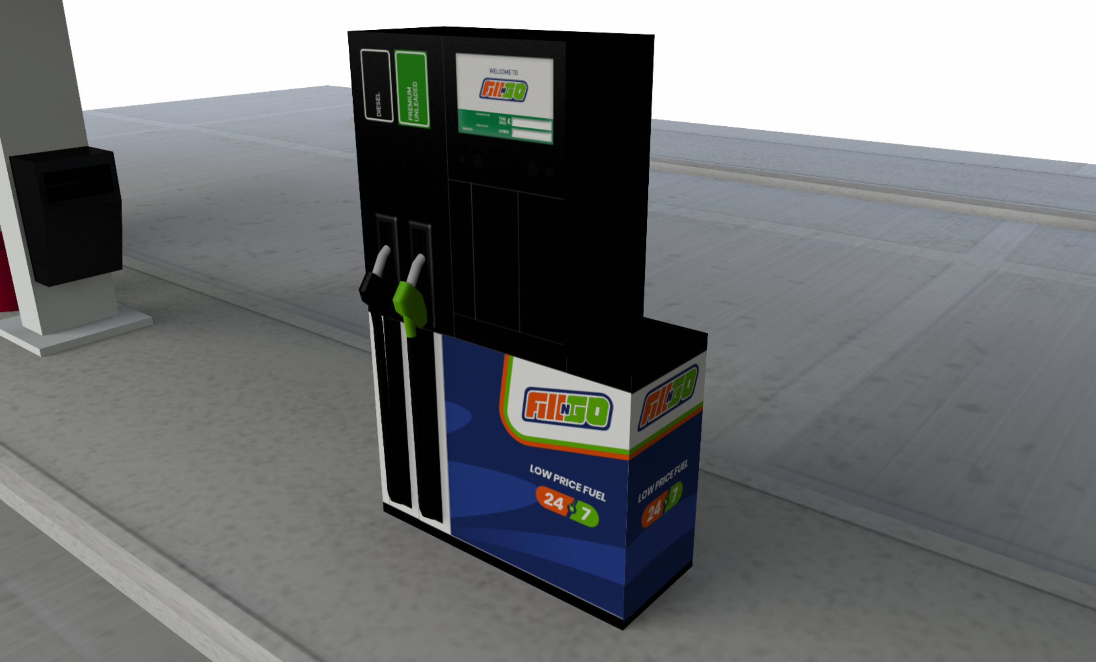 Fill N Go unmanned service station concept fuel pump