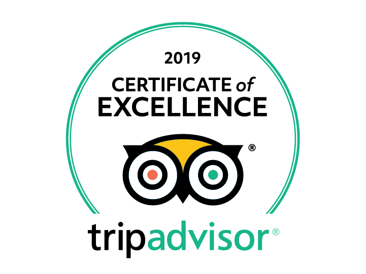 2019 certificate of excellence from Trip Advisor