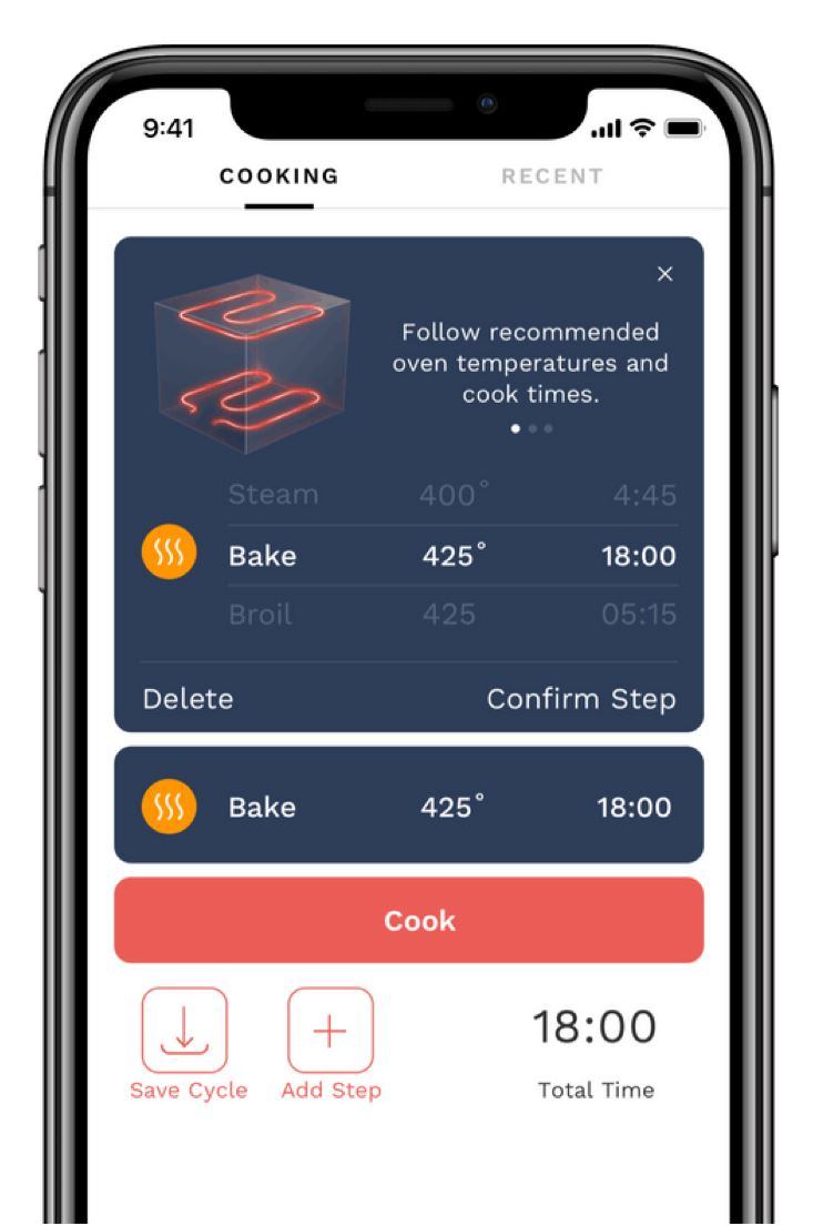 Tovala App displaying custom cook cycle.