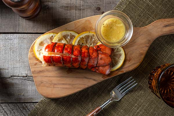 Butter-poached lobster tail.