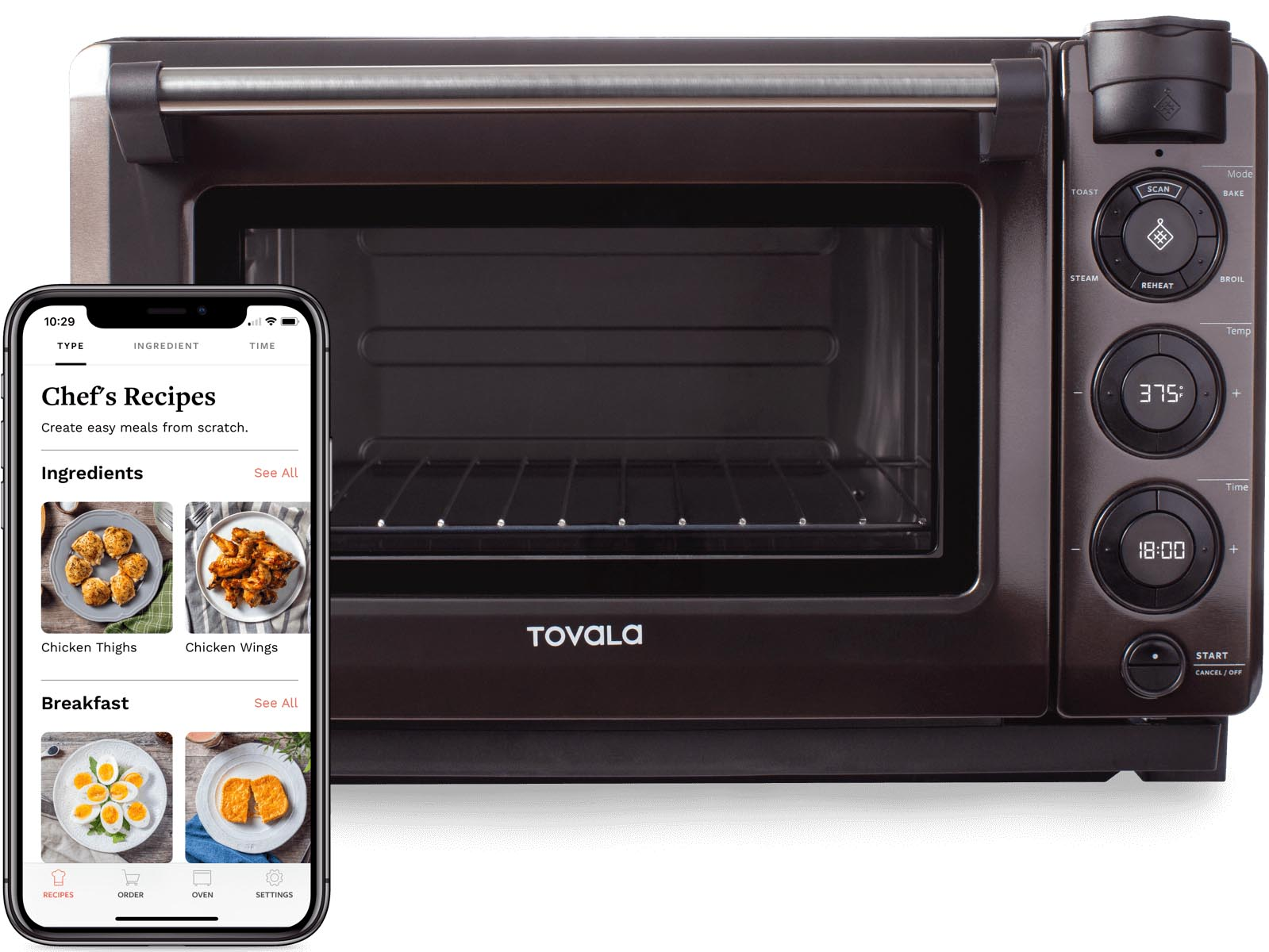 Tovala Steam Oven and Tovala App displaying Chef's Recipes.